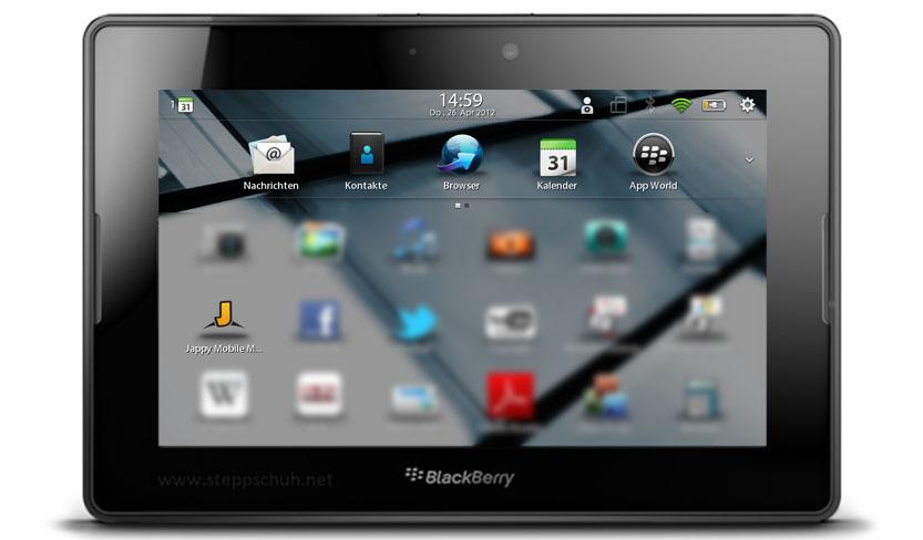 Jappy Mobile Messenger auf dem BlackBerry PlayBook